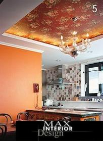 οροφη κουζινας με ταπετσαρια