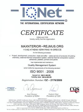 MAXINTERIOR CERTIFCATE